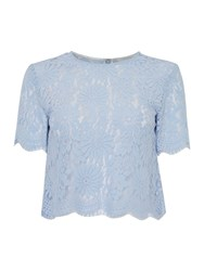 Ivy And Oak Three Quarter Length Sleeve Silver Lace Box Top Light Blue