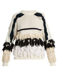 Toga Fringed Cotton Blend Sweater White Black