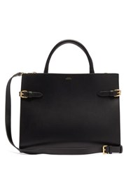 A.P.C. Farrah Buckled Smooth Leather Tote Bag Black