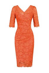 Jolie Moi 3 4 Sleeve V Neck Ruched Lace Dress Coral