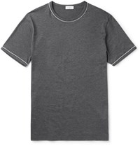 Sunspel Unpel Lim Fit Contrat Tipped Cotton Jerey T Hirt Anthracite