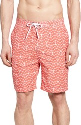 Trunks Surf And Swim Co. Men's Swami Chevron Anchor Board Shorts Spicy Coral White