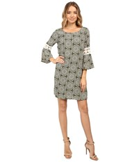 Christin Michaels Lexington Crochet Sleeve Dress Olive Cream Women's Dress