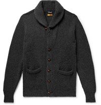 Drakes Slim Fit Shawl Collar Ribbed Wool Cardigan Charcoal