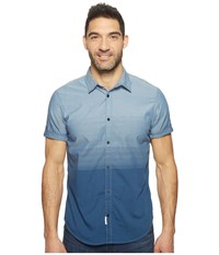 Calvin Klein Jeans Short Sleeve Ombre Button Down Insignia Blue Men's Short Sleeve Button Up