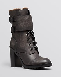 Tory Burch Lace Up Platform Booties Broome Shearling Irish Charcoal