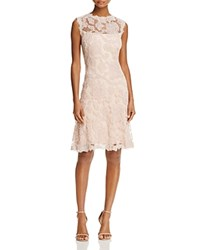 Tadashi Shoji Sheer Yoke Lace Dress Antique Pink