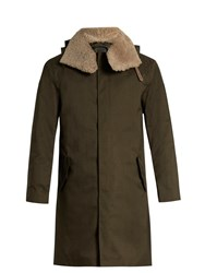 Norwegian Rain Moscow Shearling Collar Technical Coat Green Multi