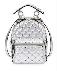 Valentino Garavani Rockstud Spike Mini Metallic Leather Backpack Silver