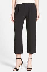 Halogen Crop Cuff Wide Leg Pants Black