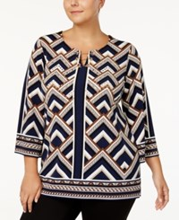 Jm Collection Plus Size Chevron Print Chain Neck Top Created For Macy's Navy Chevron Magic