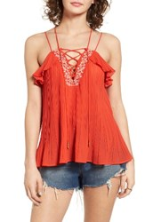Moon River Women's Lace Up Pleated Tank