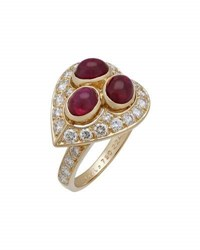 Cartier Estate 18K C Heart Ruby And Diamond Ring Size 5.75