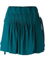No21 Pleated Mini Skirt Blue