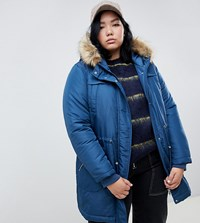 Junarose Fur Trim Parka Coat Blue