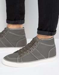 Asos Mid Top Skater Sneakers In Gray Canvas Gray