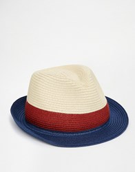 Asos Straw Trilby Hat With Colourblock Weave Natural Beige