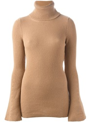 Stella Mccartney Ribbed Turtle Neck Sweater Nude And Neutrals