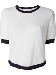 Julien David Crew Neck Knit Top White