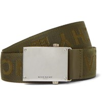 Givenchy 3.5Cm Army Green Leather Trimmed Logo Jacquard Webbing Belt Green