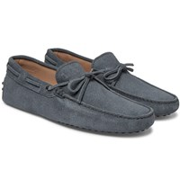 Tod's Gommino Printed Suede Driving Shoes Gray