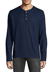 Hyden Yoo Long Sleeve Henley Navy