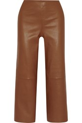 By Malene Birger Paqia Leather Wide Leg Pants Brown