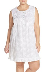 Plus Size Women's Eileen West Embroidered Cotton Nightgown White Floral Embroidery