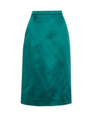 Oscar De La Renta Satin Midi Skirt Dark Green