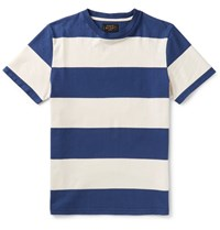 Beams Plus Striped Cotton Jersey T Shirt Blue