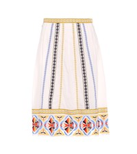 Tory Burch Adriana Embroidered Cotton Skirt White
