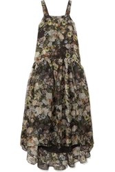 Adam By Adam Lippes Tiered Floral Print Silk Organza Maxi Dress Black