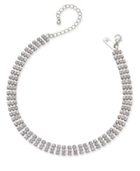 Inc International Concepts Silver Tone Crystal Choker Necklace Only At Macy's