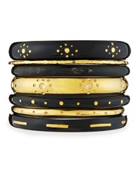 Ashley Pittman Kaimu Seven Piece Stacking Bangle Set Black Gold