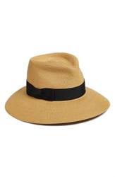 Women's Eric Javits 'Phoenix' Packable Fedora Sun Hat Beige Natural Black