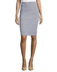 St. John Checkered Knit Pencil Skirt Bkbw