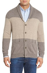 Men's Big And Tall Nordstrom Cashmere Colorblock Shawl Collar Cardigan Tan Portabella Combo