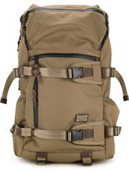 As2ov Double Buckle Zipped Backpack Men Nylon One Size Brown