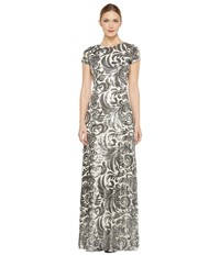Donna Morgan Simone Beaded Cap Sleeve Dress Silver Women's Dress