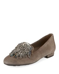 Sesto Meucci Kamile Embellished Suede Loafers Taupe