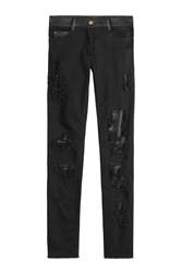 Jitrois Distressed Skinny Pants With Leather Black