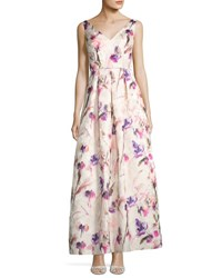 Js Collections Floral Print Jacquard Gown White Pattern