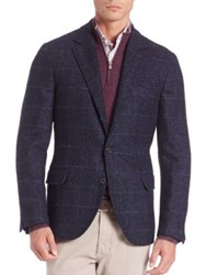 Brunello Cucinelli Regular Fit Virgin Wool Blend Jacket Blue