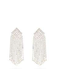 Alessandra Rich Crystal Cascade Square Clip Earrings Crystal
