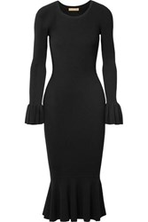Michael Kors Collection Ruffle Trimmed Ribbed Stretch Knit Midi Dress Black
