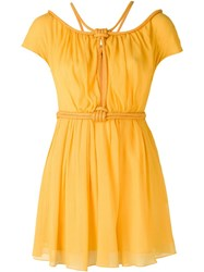 Jay Ahr Rope Detail Boat Neck Dress Yellow And Orange