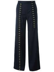 Each X Other Eyelits Detailing Striped Trousers Blue