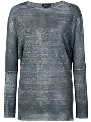 Avant Toi Long Sleeve Fitted Top Grey