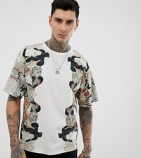 Heart And Dagger T Shirt With Placement Print In White