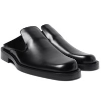 Balenciaga Leather Backless Loafers Black